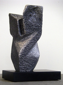 "Bird Macquette, Aluminum with compressed paper base, 3""x3""x8"""
